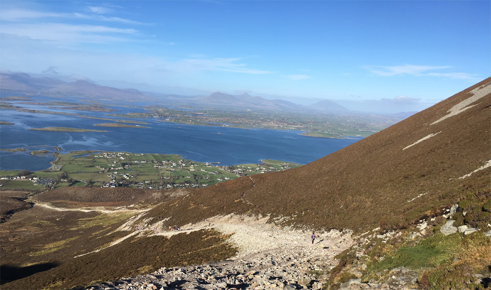 View of Clew Bay from Croagh Patrick Bespoke and custom tours of the West Coast of Ireland O Rourke Tours